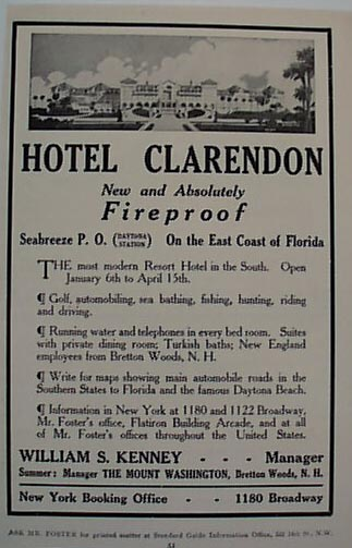 Hotel Clarendon 1912 Ad Fireproof Fla Hotel