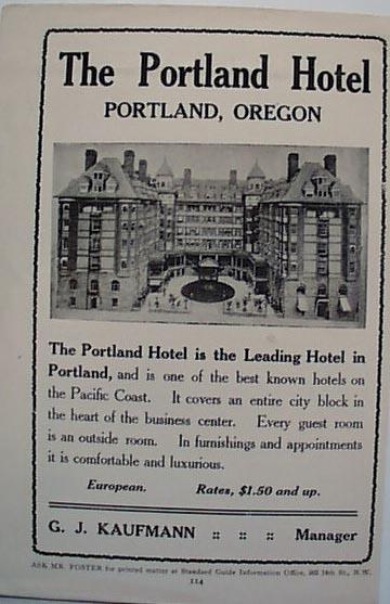 Hotel Portland Oregon 1912 Ad