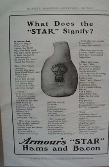 Armour Star Ham Late 1800's Ad