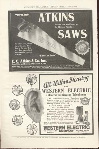 Atkins Saws Munsey's Magazine Pre 1900's Ad.