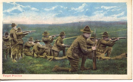 WWI tinted postcard showing Target Practice