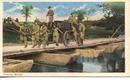 WWI tinted postcard showing Pontoon Bridge