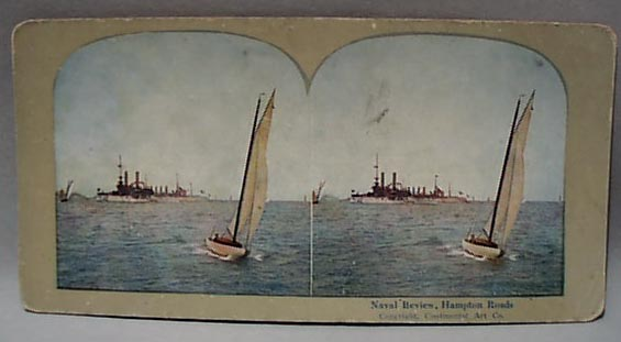 1907 Stereo Card Naval Review at Hampton Road