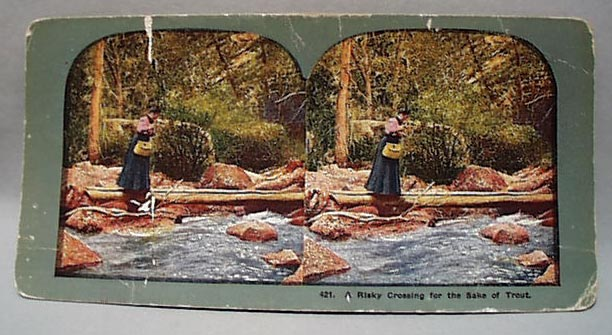 Stereo Card #421 Risky Crossing For Trout