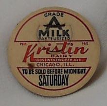Paper Insert Milk Cap Kristin Dairy Chicago
