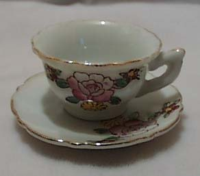 Mini Cup & Saucer Porcelain With Flowers