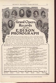 Grand Opera Records Phonograph Ad Around 1900