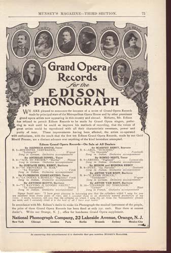 Grand Opera Records Phonograph Ad Around 1900