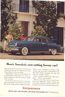 Studebaker Ad luxury car 4 dr