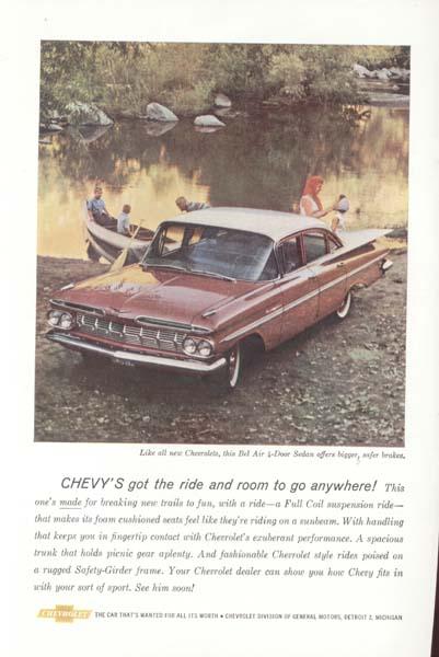 Chevrolet Red Bel Air 4 door Ad