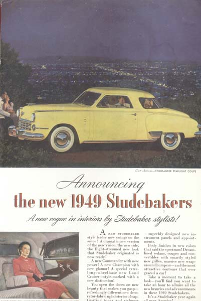 1949 Studebakers NEW Car Yellow Commander Ad