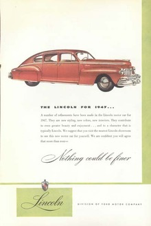 1947 Ford Lincoln Motor Car Red Ad