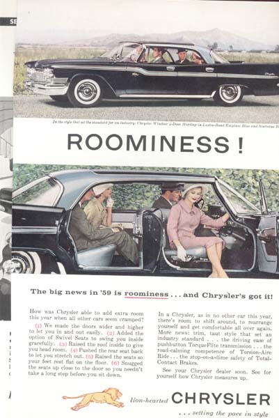Chrysler 1959 Windsor Two Tone Blue Ad