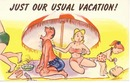 Humor card, vacation problems, sunburn et.
