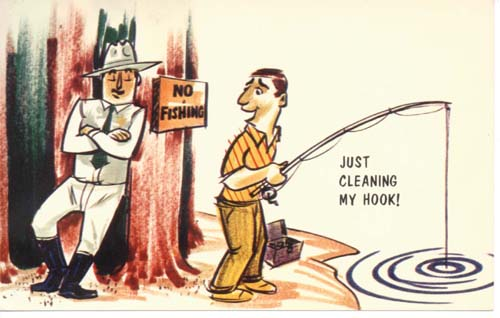 Just Cleaning my hook humor postcard