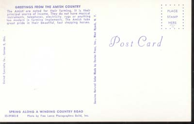 Postcard of Amish Country