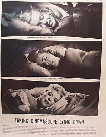 Monroe, Bacall and Grable Life magazine ad