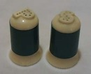 Heavy Plastic Blue Ivory  S & P Shakers