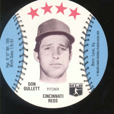 Baseball Ice cream Cup Cap Card Don Gullett