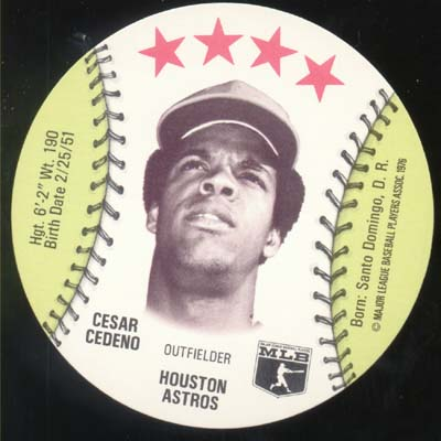 Baseball Ice cream Cup Cap Card Cedeno