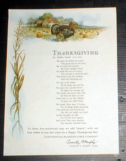 Thanksgiving Poem by Matthias Claudius