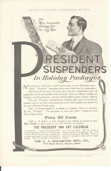 Edgarton Mfg Co. Suspender Ad.  This is an ad