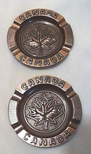 Canada copper ashtray set, Maple leaf on each