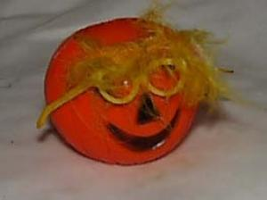Orange plastic pumpkin decoration