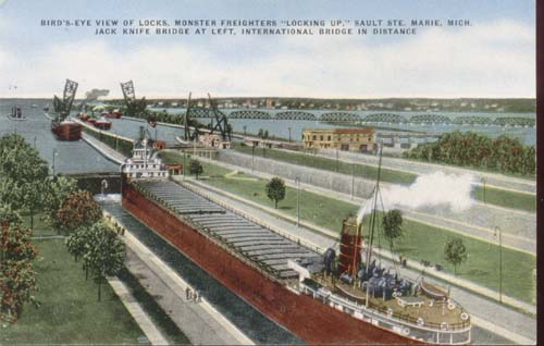 Soo Locks Postcard Michigan, in color