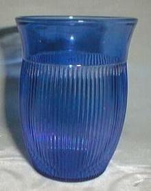 Hazel Atlas Fine Rib Tea Tumbler, Blue