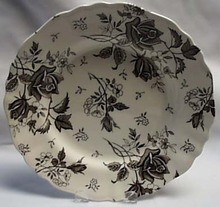 J & G Meakin Black rose dinner plate