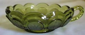 Fostoria Coin Glass Nappy in Green