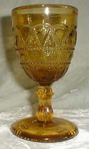 Kemple Lace and Dewdrop Low Goblet, Amber