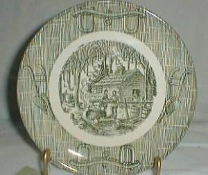 Scio Currier & Ives Green Bread & butter plate
