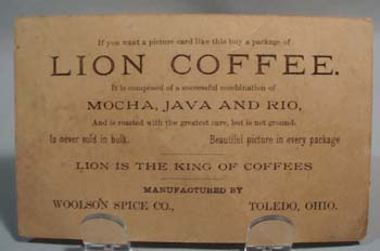 Lion Coffee Woolson Spice  victorian trade card