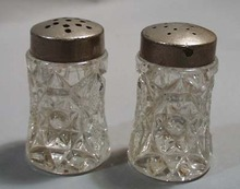 Pressed Glass Salt & Pepper Shakers