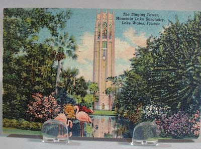 Singing Tower Post card with flamingos