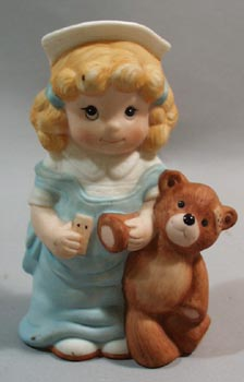 Wallace Berrie Collectible Little Girl Nurse & Teddy Bear