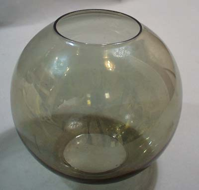 Sphere shaped iridescent olive green fish bowl