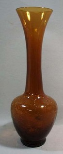 Amber Crackle glass handblown Vase