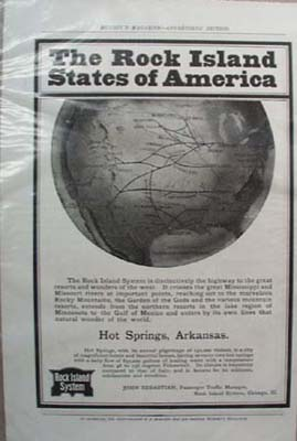 Rock Island System Railroad Ad Hot Springs Arkansas1902