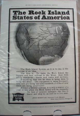 Rock Island System Railroad Ad Outcome of an Idea