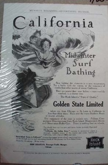 Rock Island System Railroad Ad Midwinter Surf Bathing