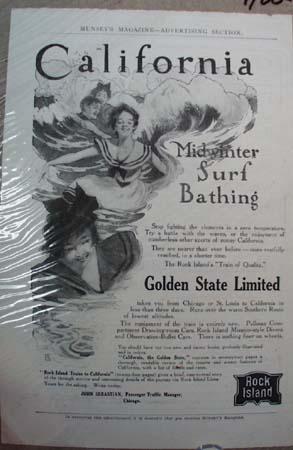 Rock Island System Railroad Ad Midwinter Surf Bathing
