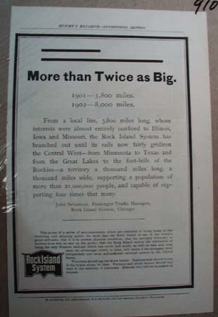 Rock Island System Railroad Ad More than Twice As Big