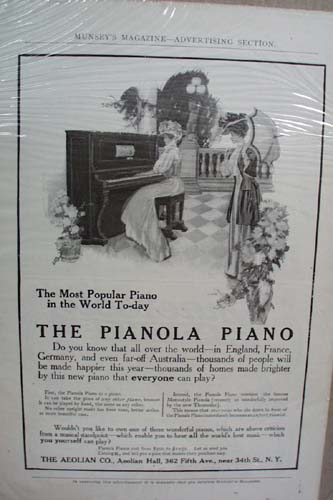 Pianola Piano Ad Late 1800 or early 1900 advertisement