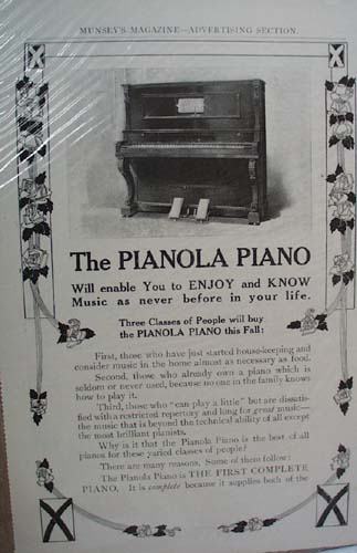 Pianola Piano Ad Will Enable You to enjoy and Know Music as Never Before