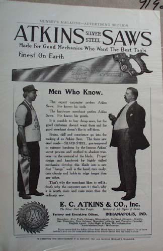 E C Atkins Co Steel Saws Ad Atkins Silver Steel Saws
