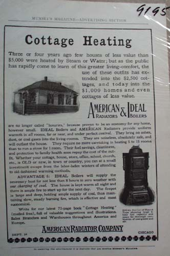 American Radiator Co Ad Cottage Heating