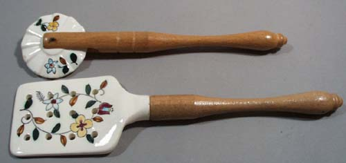 Handpainted pie crust roller and spatula lift